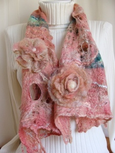 cobweb felted scarf, wearable art, wool scarf with flowers and leaves