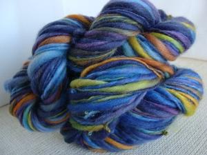 handspun bfl yarn, thick and thin handspun yarn, blue wool yarn