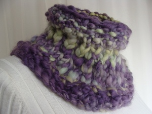 handspun thick and thin art to wear, handspun cowl, wool neckwarmer, purple and yellow cowl