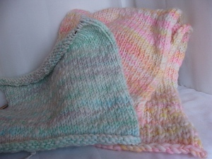 handspun baby blanket, photography prop baby blanket, thick and thin handspun,