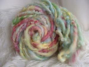 handspun art yarn, waldorf doll hair, silk bamboo yarn, one of a kind  yarn, bulk yarn